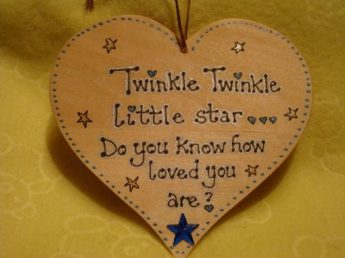 Twinkle Twinkle Little Star Do You Know How Loved You Are? wooden heart sign blue theme handmade